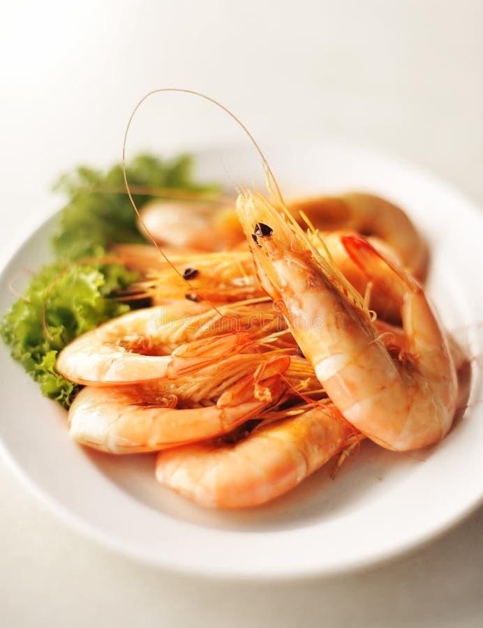El camarón de los mariscos cuece al horno en la placa blanca fotografía de archivo libre de regalías