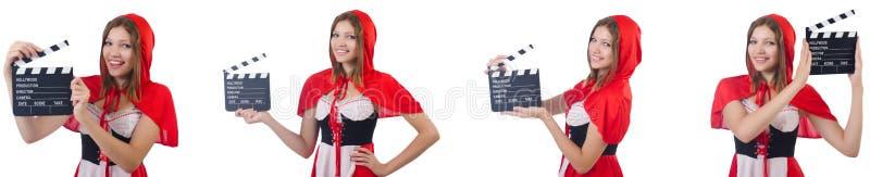 El camarero de la mujer joven con el tablero de la pel?cula aislado en blanco imagen de archivo