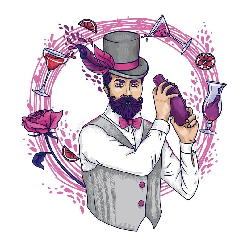 El camarero de moda con los cócteles del encanto y subió ilustración del vector