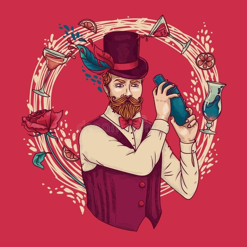 El camarero de moda con los cócteles del encanto y subió libre illustration