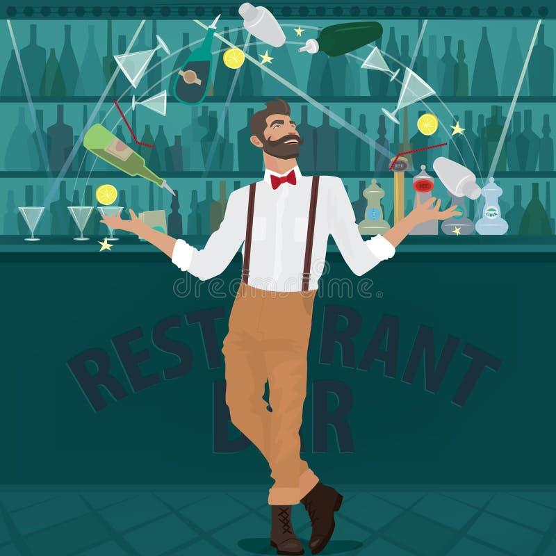 El camarero del inconformista hábilmente hace juegos malabares las botellas ilustración del vector