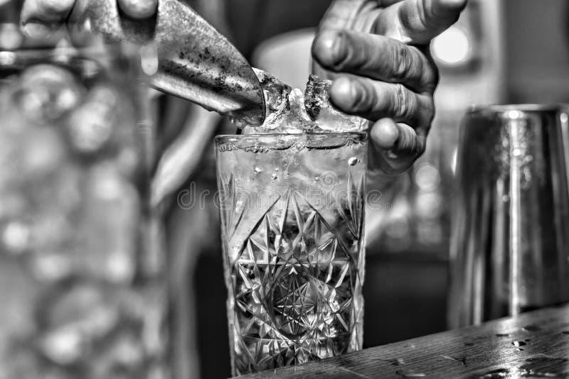 El camarero pone el hielo en un cóctel imagen de archivo libre de regalías