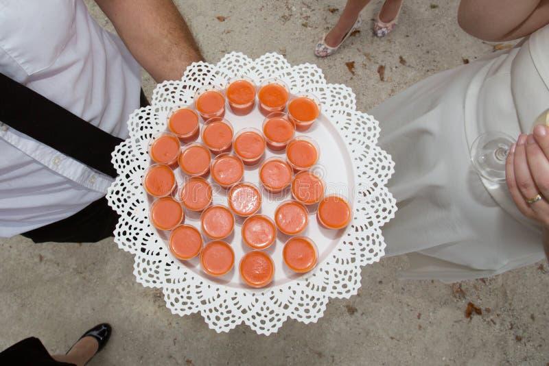 El camarero presenta carpaccio a la novia fotografía de archivo
