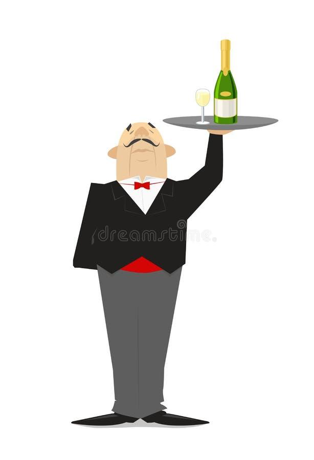 El camarero sostiene una bandeja de champán Camarero en el restaurante foto de archivo libre de regalías