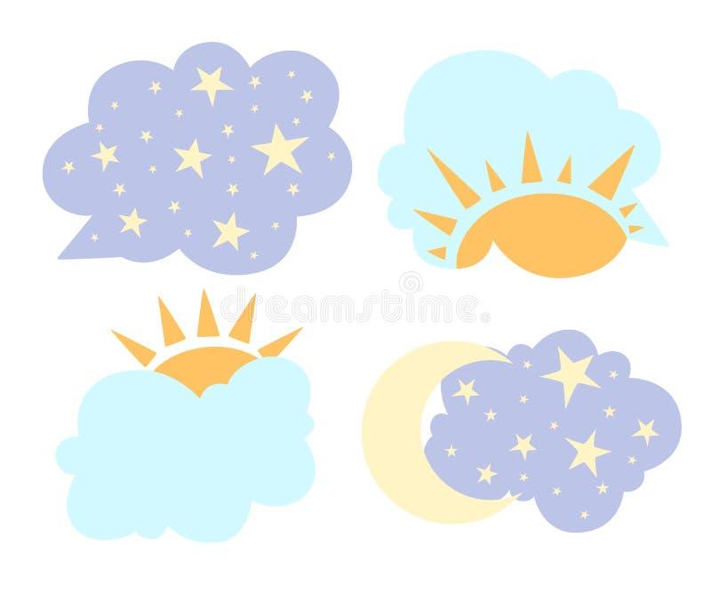 El cambio día y noche del concepto en sol del estilo de la historieta y la luna en cielo vector el ejemplo aislado en el sitio we stock de ilustración