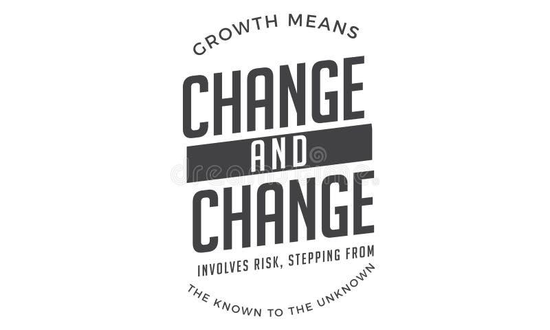 El cambio de los medios del crecimiento y el cambio implica riesgo ilustración del vector