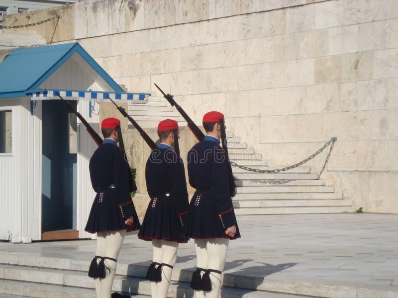 El cambio del guardia en Atenas, Grecia foto de archivo libre de regalías