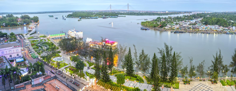 El cambio del muelle de Ninh Kieu del paisaje muestra en un cierto plazo imágenes de archivo libres de regalías