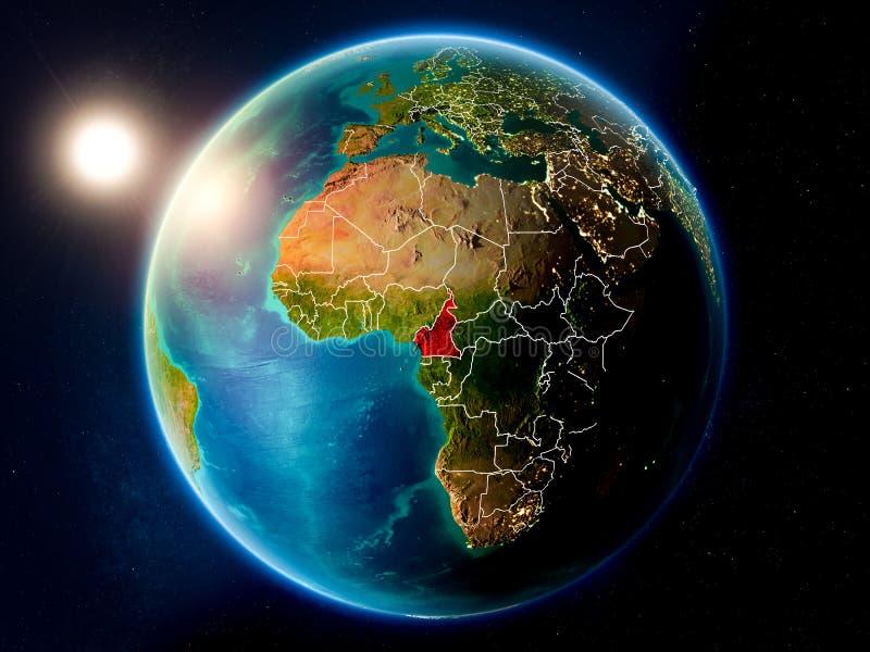 El Camerún con puesta del sol del espacio fotografía de archivo