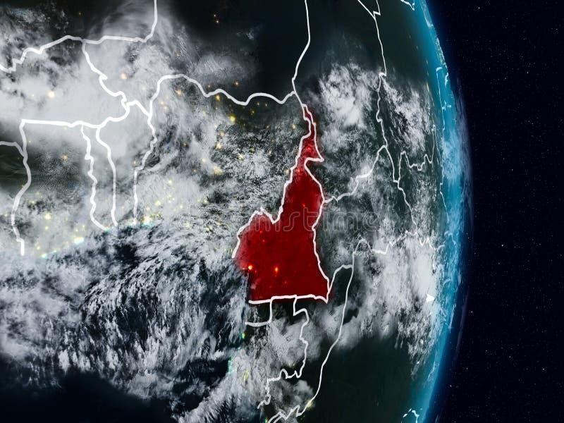 El Camerún del espacio en la noche imágenes de archivo libres de regalías