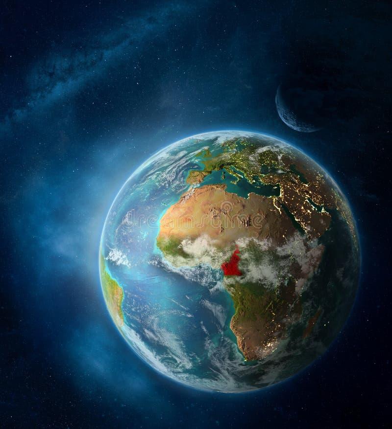 El Camerún del espacio en la tierra del planeta imagen de archivo libre de regalías