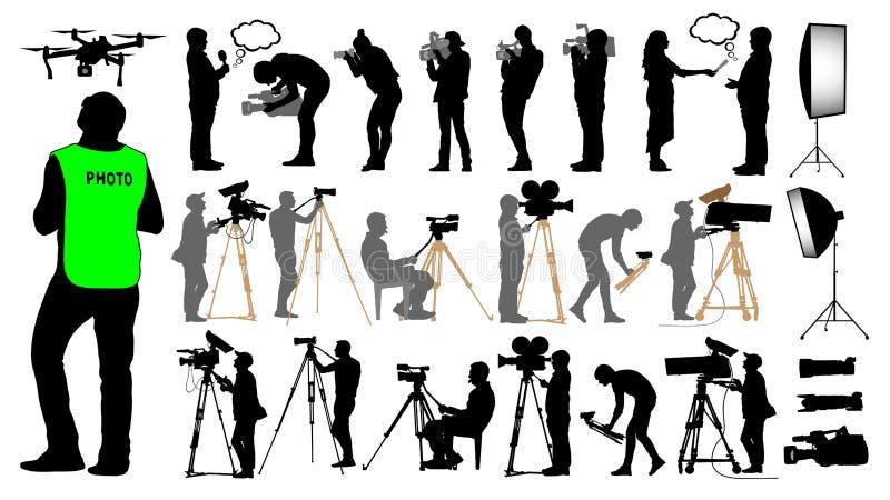 El cameraman, fotógrafo, hombre y abejón, fijó al operador de la cámara ilustración del vector