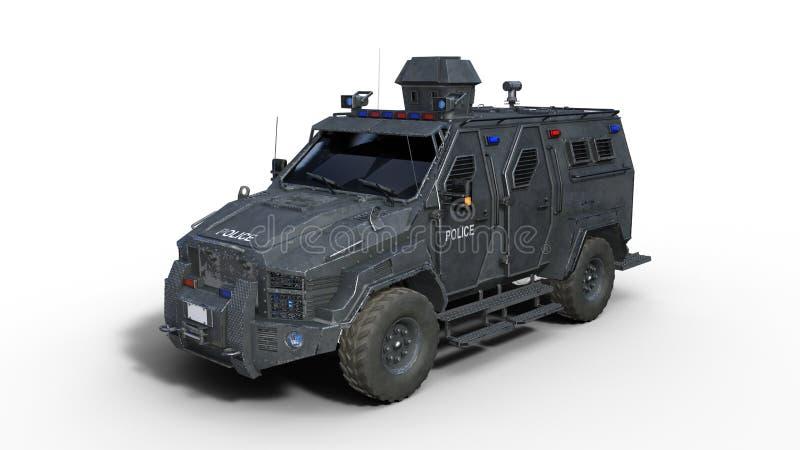 El camión acorazado de SUV, vehículo policial a prueba de balas, coche de la aplicación de ley aislado en el fondo blanco, 3D rin libre illustration