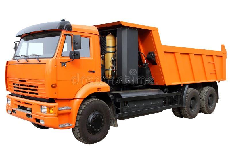 El camión con el motor que corre en el metano, aislado en blanco imágenes de archivo libres de regalías