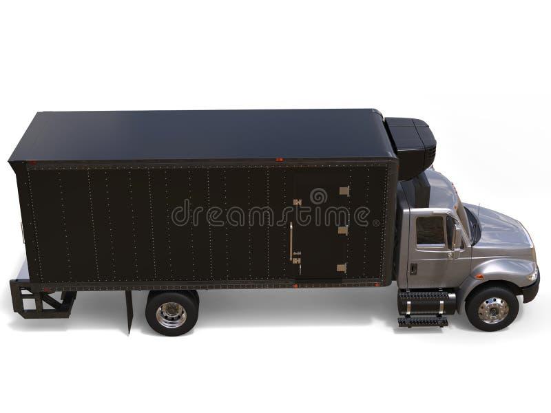 El camión de plata del refrigerador con la unidad negra del remolque - remate abajo de vista lateral ilustración del vector