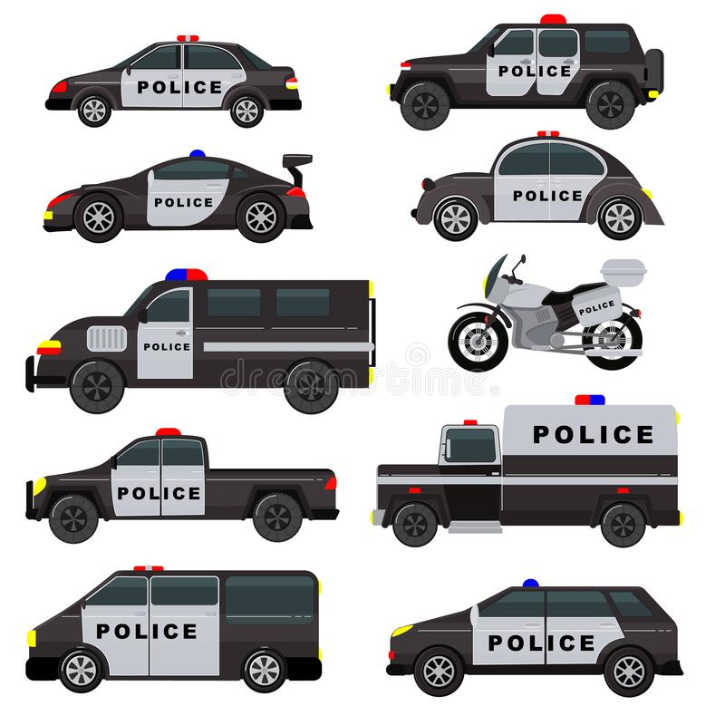 El camión del vehículo de la política de la emergencia del vector del coche policía y el automóvil del suv sistema patrullan y de libre illustration