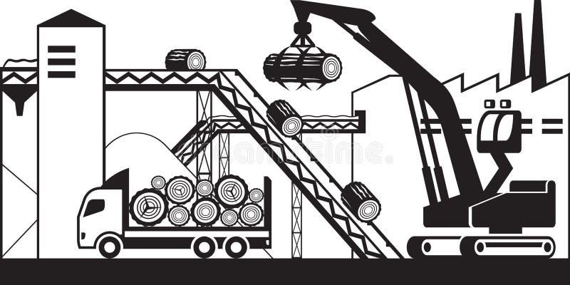 El camión trae la madera para empapelar plan libre illustration