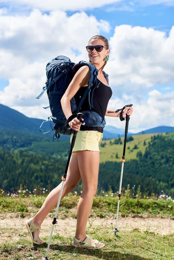 El caminante de la mujer que camina en la colina herbosa, mochila que lleva, usando el senderismo se pega en las montañas imagen de archivo libre de regalías