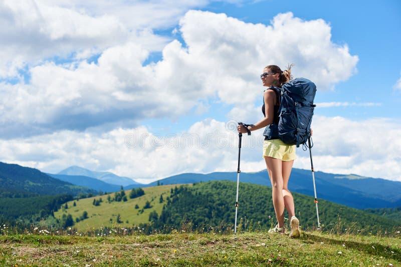 El caminante de la mujer que camina en la colina herbosa, mochila que lleva, usando el senderismo se pega en las monta?as foto de archivo