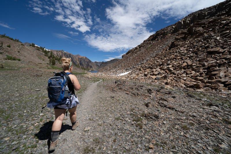 El caminante femenino camina a lo largo del rastro durante verano a lo largo del área del lavabo de 20 lagos de las montañas de C imagen de archivo libre de regalías