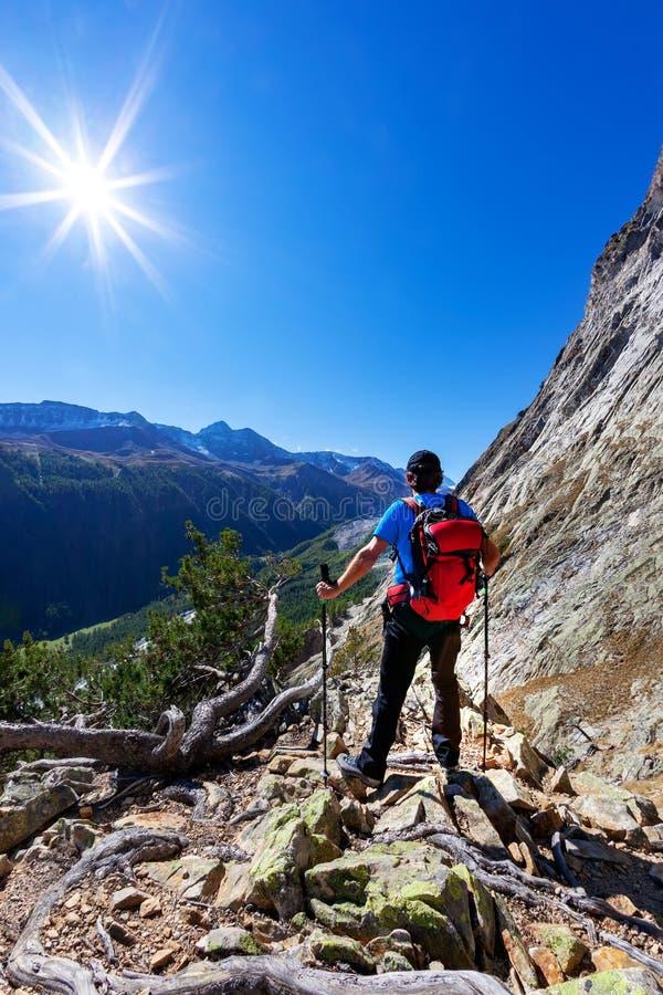 El caminante toma un resto observando un panorama de la montaña Mas de Mont Blanc fotografía de archivo