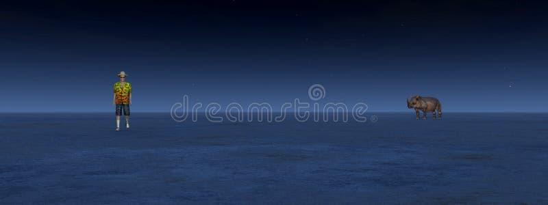 El caminante y el rinoceronte se encuentran en el desierto por noche ilustración del vector