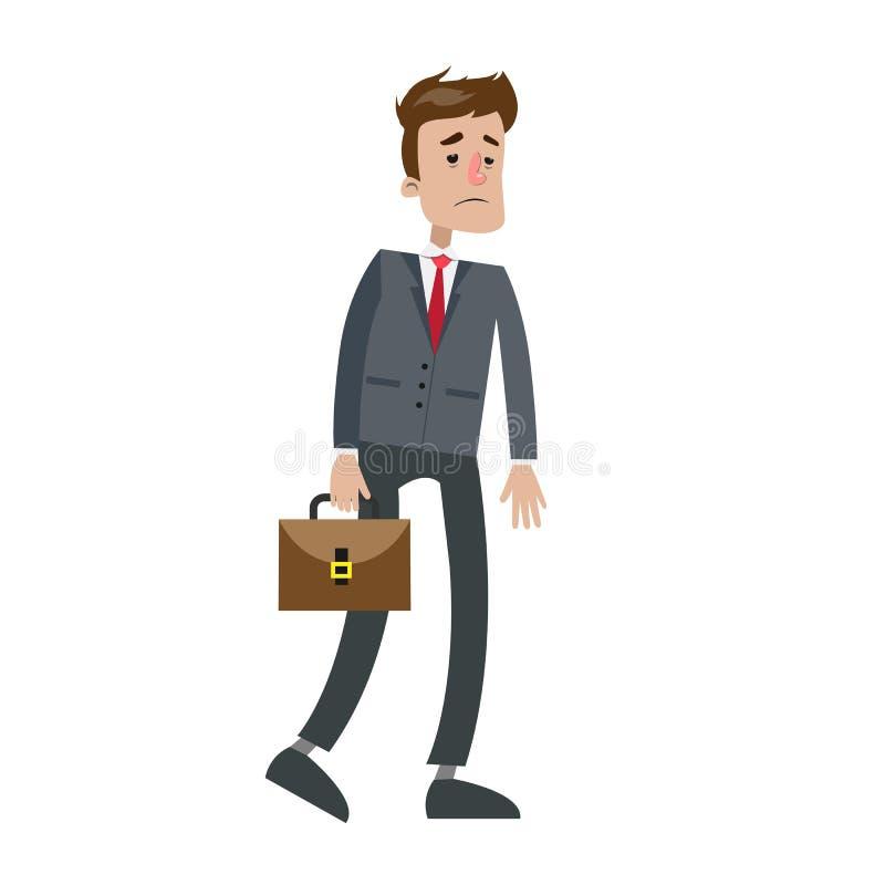 El caminar cansado del hombre de negocios stock de ilustración