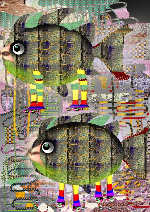 El caminar colorido abstracto de dos pescados stock de ilustración