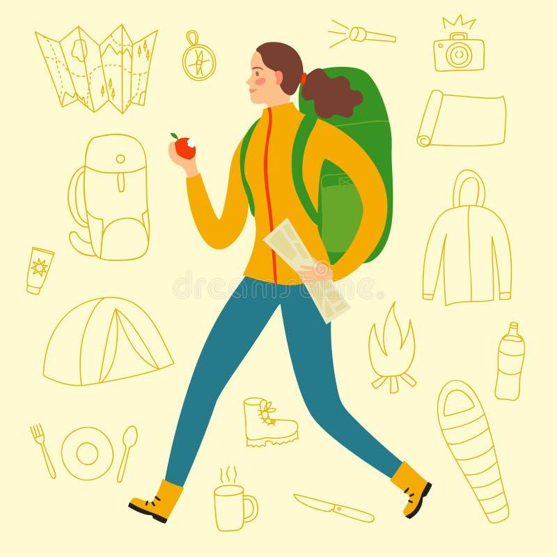 El caminar de la muchacha del viajero de la historieta ilustración del vector