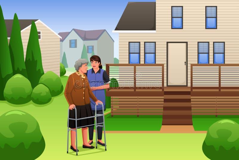 El caminar de señora Helping Elderly Woman stock de ilustración