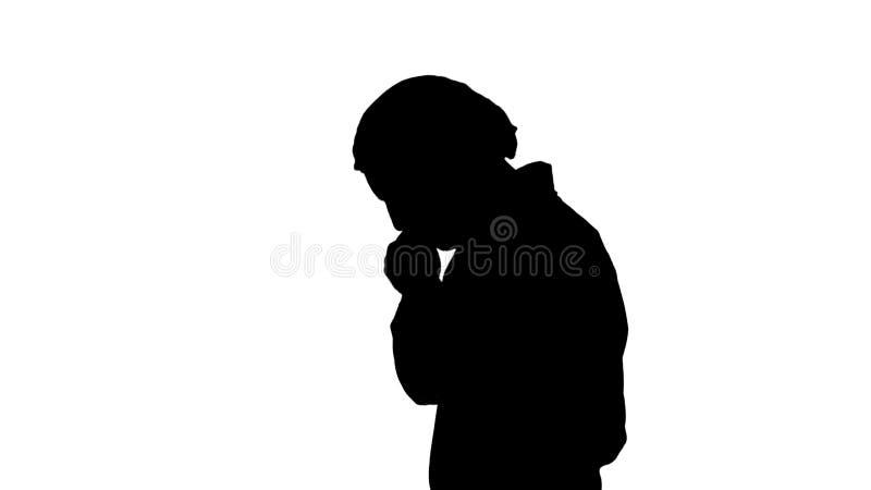 El caminar del hombre del doctor de la silueta subray? con la mano en la cabeza, chocada con la cara de la verg?enza y de la sorp ilustración del vector