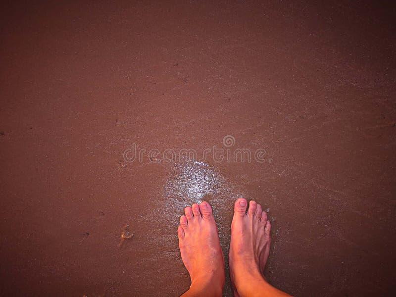 El caminar descalzo en la playa solamente imagen de archivo libre de regalías