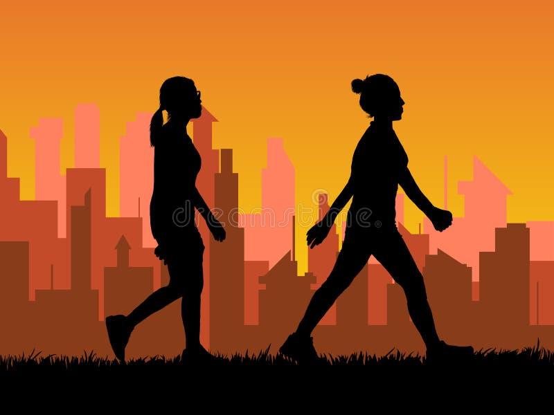 El caminar enérgico de la mujer de la silueta en ciudad libre illustration