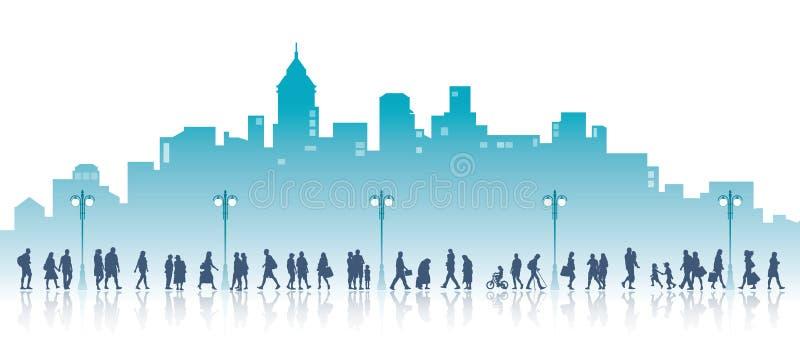 El caminar en una ciudad ilustración del vector