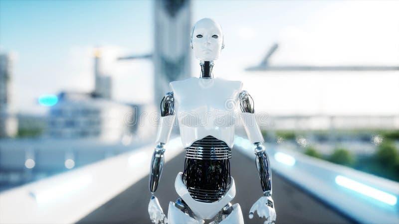 El caminar femenino del robot Ciudad futurista, ciudad Gente y robots representación 3d stock de ilustración
