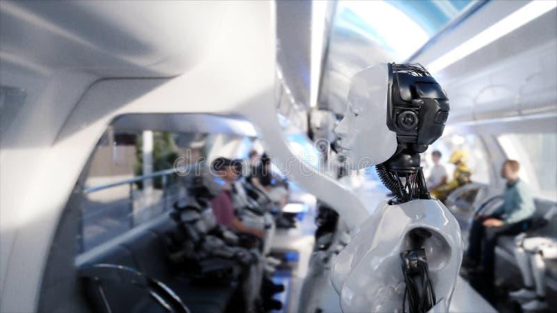 El caminar femenino del robot Estación de Sci fi Transporte futurista del monorrail Concepto de futuro Gente y robots representac ilustración del vector