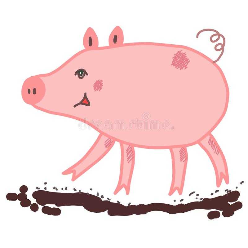 El caminar guarro rosado en un charco de fango marrón libre illustration