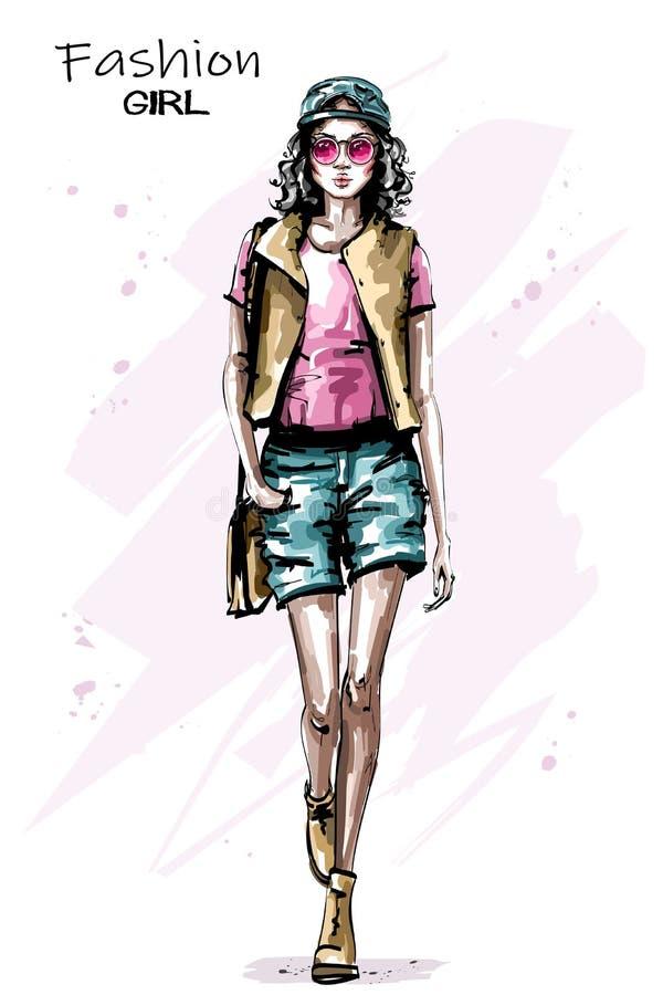 El caminar hermoso exhausto de la mujer joven de la mano Muchacha elegante elegante en casquillo Mirada de la mujer de la moda stock de ilustración
