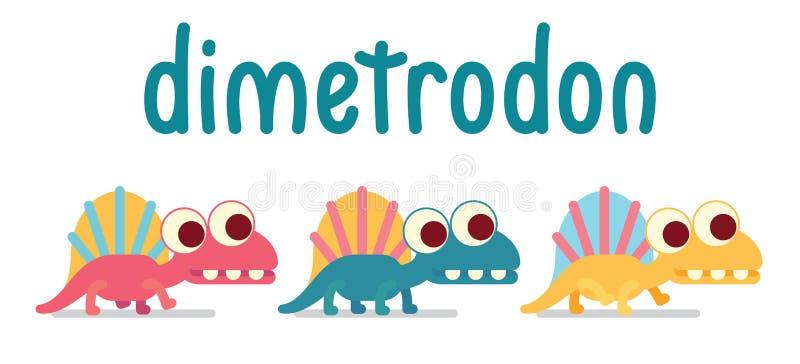 El caminar lindo de Dimetrodon Vida animal Vector el ejemplo del carácter prehistórico en estilo plano de la historieta aislado e stock de ilustración