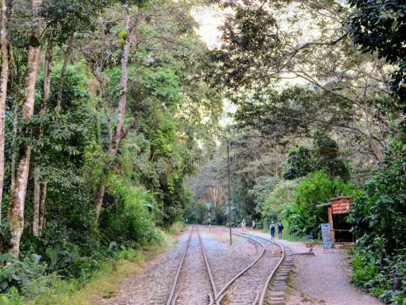 El caminar a lo largo de las vías del tren de Peru Rail en el camino a los Aguas foto de archivo libre de regalías