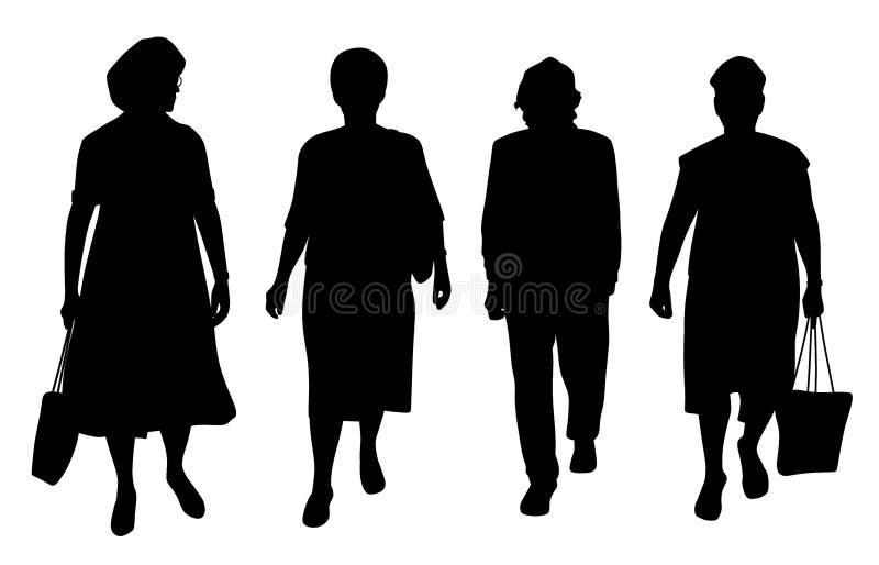 El caminar mayor de las mujeres stock de ilustración