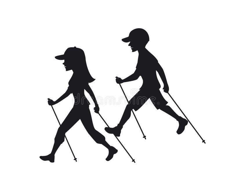 El caminar nórdico del hombre y de la mujer stock de ilustración