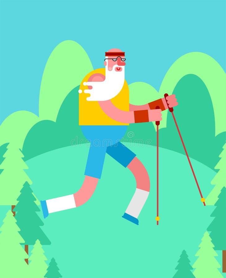El caminar nórdico del viejo hombre en abuelo del bosque va con los polos de esquí aislados Entrenamiento para los pensionistas C stock de ilustración