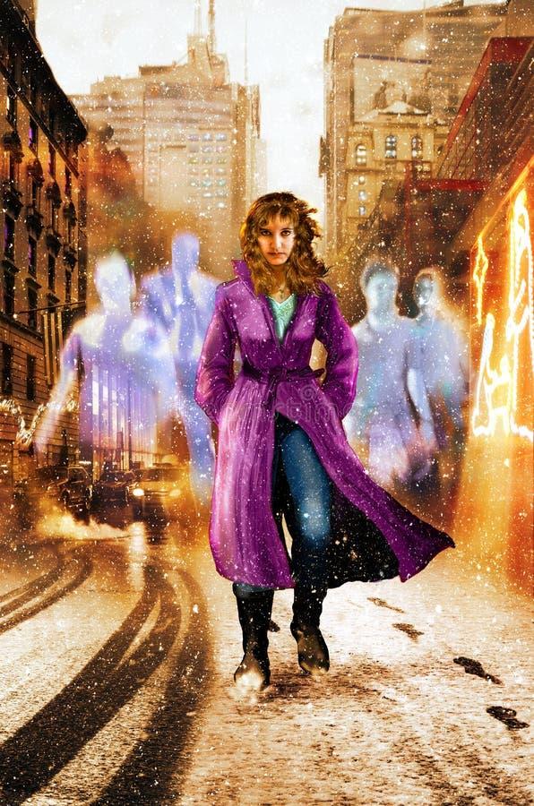 El caminar por la calle seguida por los fantasmas ilustración del vector