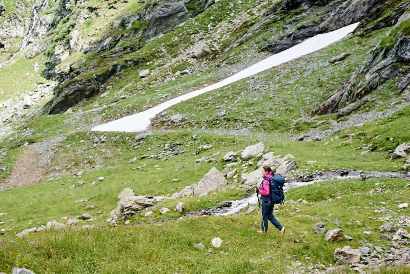 El caminar turístico femenino en prado herboso verde hermoso cerca de las montañas rocosas en Rumania foto de archivo libre de regalías