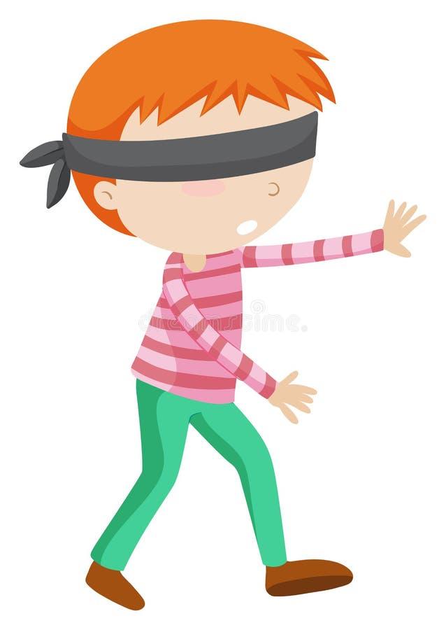 El caminar vendado los ojos de muchacho solamente ilustración del vector