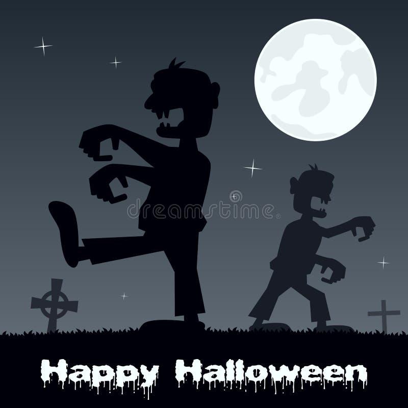 El caminar y cementerio de los zombis de Halloween ilustración del vector