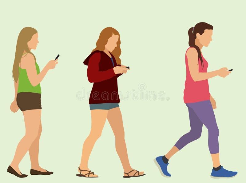 El caminar y el mandar un SMS stock de ilustración