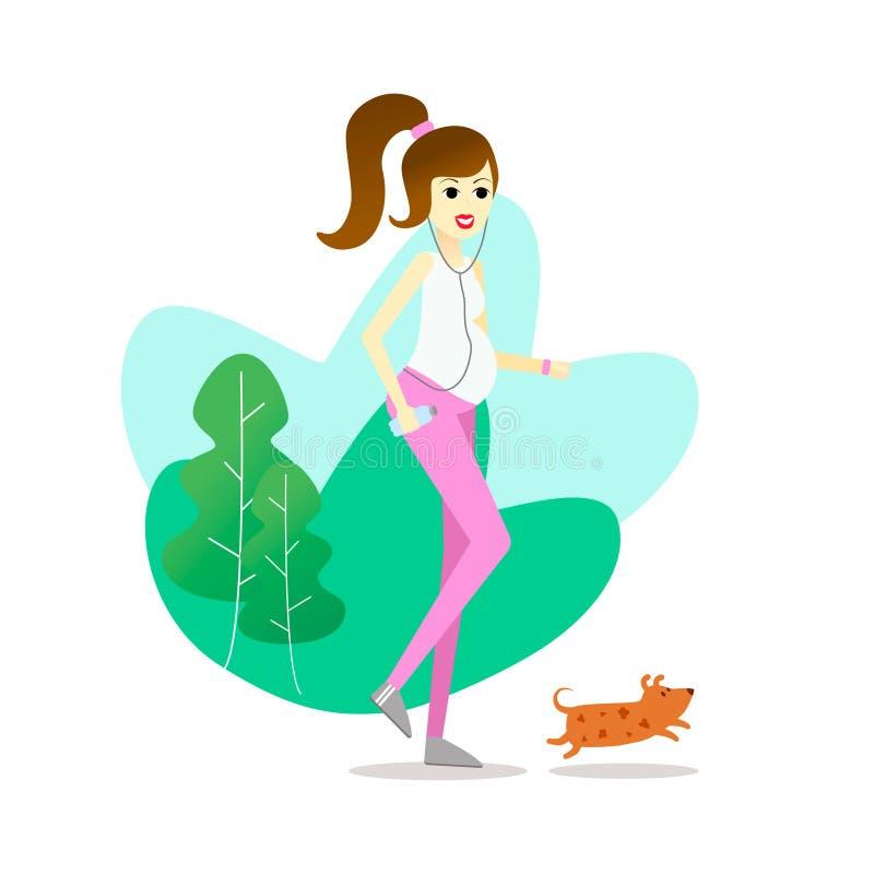 El caminar y funcionamiento del ejercicio del embarazo de la mamá con el perro libre illustration