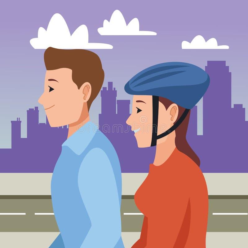 El caminar y mujer del hombre con el casco en la vespa stock de ilustración